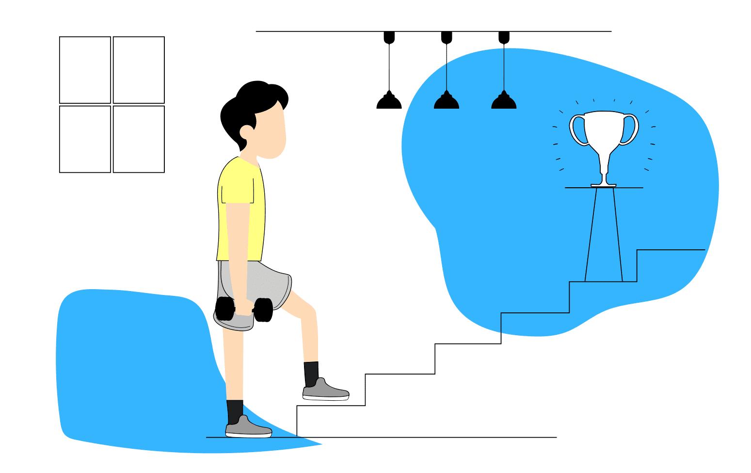 Persona-con-pesas-subiendo-escaleras