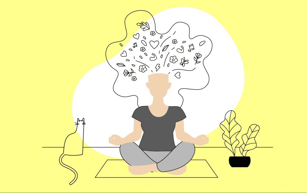 Mujer-meditando-con-pensamientos-amplios